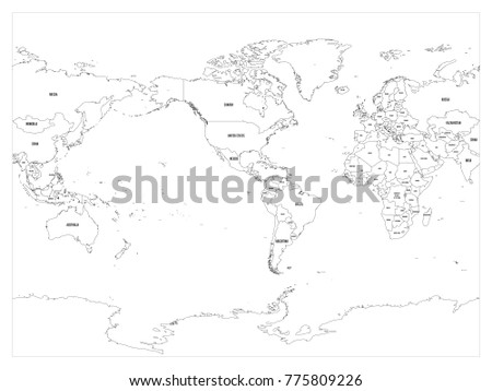 World Map Country Border Outline On Stock Vector - World map with country labels