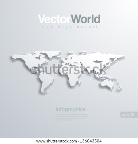 World map 3D vector illustration. Useful for infographics Global concept. - stock vector
