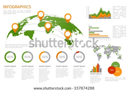 World map 3D with set of infographics elements. Design information, business graph and chart. Vector illustration - stock vector