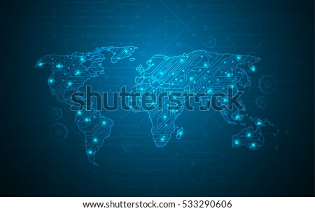 World map digital tech circuit background vectores en stock world map digital tech circuit background gumiabroncs Choice Image