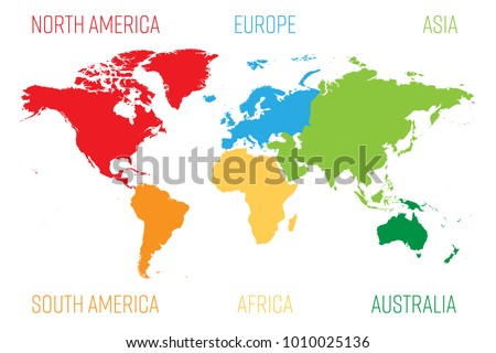 World map divided into six continents vector de stock1010025136 world map divided into six continents each continent in different color simple flat vector gumiabroncs Image collections
