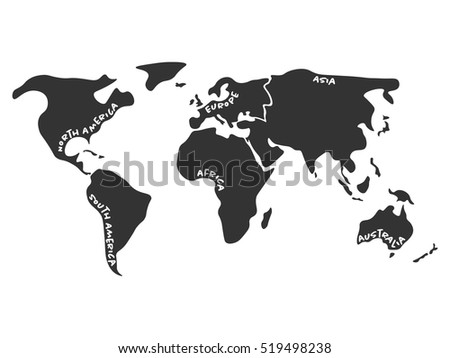 World map divided six continents dark stock vector 519498238 world map divided to six continents in dark grey north america south america gumiabroncs Choice Image