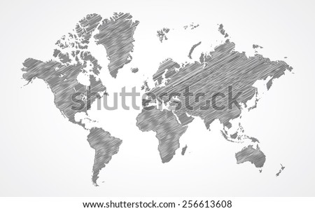 World map - doodle - stock vector
