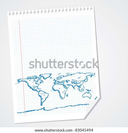 World Map Doodle Vector - stock vector