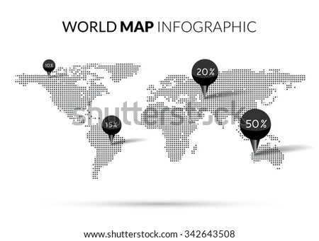 World Map Dot illustration infographics with points pins and percentage. Halftone Dotwork Vector illustration  - stock vector