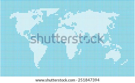 World Map - Dots Cyan - stock vector