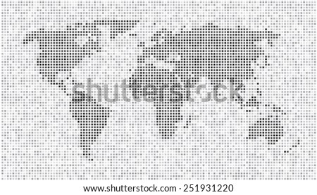 World Map - Dots Matrix Light Gray - stock vector