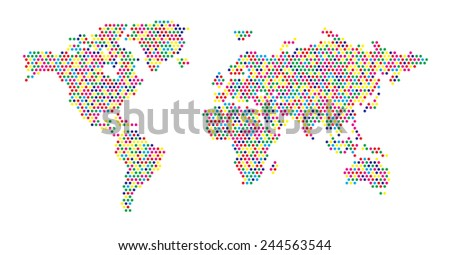 World Map - Dots Random Colors - stock vector