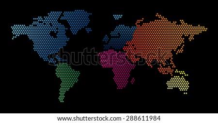World map dots random size - stock vector