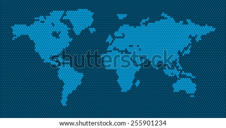 World map dots - scaled cyan blue dots white background - stock vector