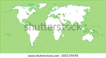 World Map Dotted Green 1 Big Dots - stock vector
