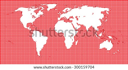 World Map Dotted Red 1 Big Dots - stock vector