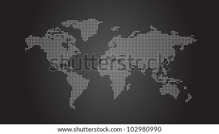 World Map Dotted - Vector EPS10 - stock vector
