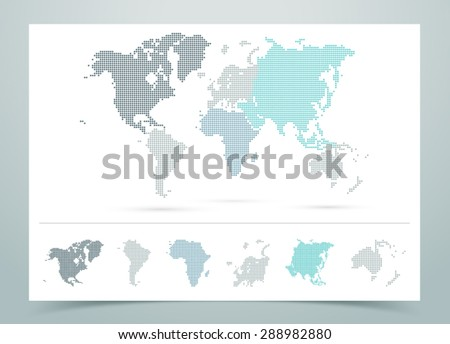 World Map Dotted Vector With Continents  - stock vector