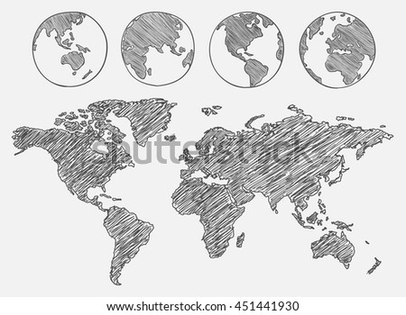 World map drawn vector illustration stock vector 451441930 world map drawn vector illustration gumiabroncs Images