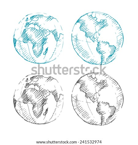 World Map Earth Globe. Sketch. Vector illustration.  - stock vector
