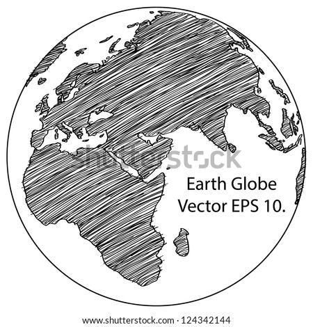 World Map Earth Globe Vector line Sketched Up Illustrator, EPS 10. - stock vector
