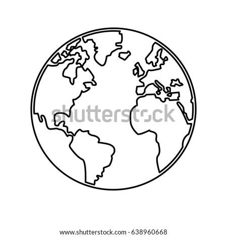 World Outline Illustration Outline Drawing Planet Stock ...