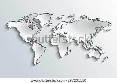 World map paper political map world vectores en stock 751956472 world map embossed in peeling paper over a grey gradient gumiabroncs Images