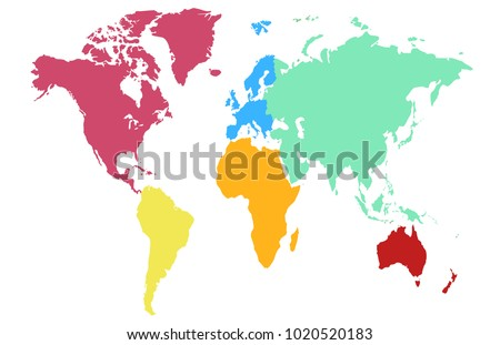 World Map Europe Asia America Africa Stock Vector 1020520183