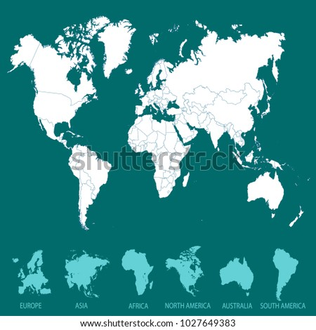 World map europe asia america africa vectores en stock 1027649383 world map europe asia america africa australia gumiabroncs Image collections