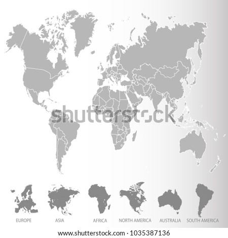 World map europe asia america africa stock vector 1035387136 world map europe asia america africa australia gumiabroncs Images