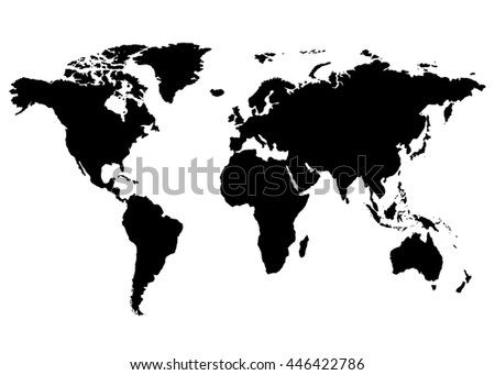 World map europe asia north america stock vector 446422786 world map europe asia north america south america africa australia gumiabroncs Gallery