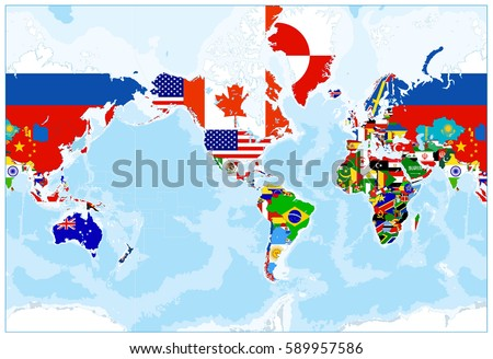 World map flags america center bathymetry stock vector hd royalty world map flags america in center bathymetry highly detailed vector illustration of world gumiabroncs Choice Image