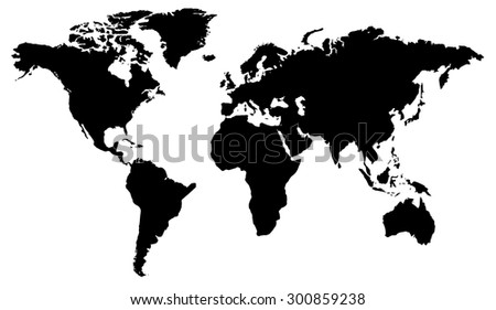 World map flat design in black and white - stock vector