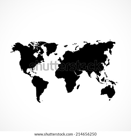 world map, flat icon isolated on white background - stock vector