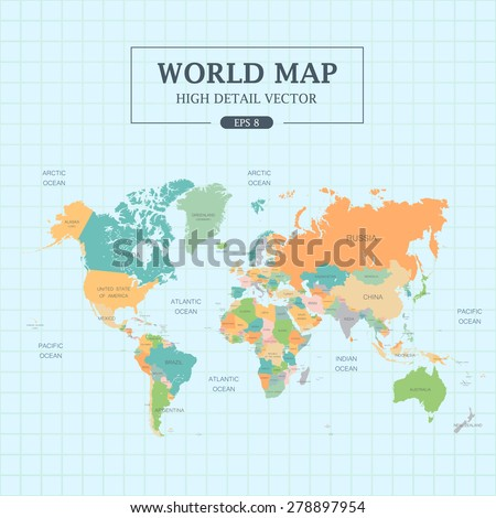World Map Full Color High Detail . Separated all countries. Vector Illustration EPS8 - stock vector