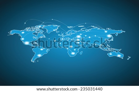 World Map - Global Connection - stock vector