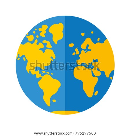 World map globe flat icon western vectores en stock 795297583 world map globe flat icon western hemisphere gumiabroncs