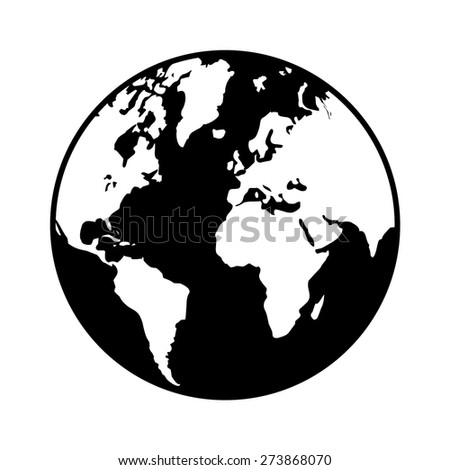 World map globe or planet earth world map flat icon for apps and websites - stock vector