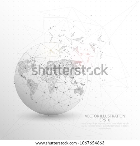 World map globe point line composition stock vector 2018 world map globe point line and composition digitally drawn in the form of broken a gumiabroncs Image collections