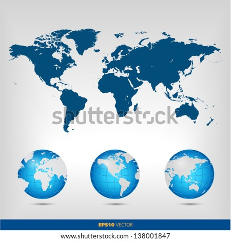 World map globe set
