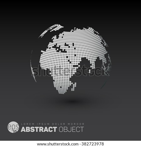 World map globe template made from dots for your infographics reports - dark version - stock vector