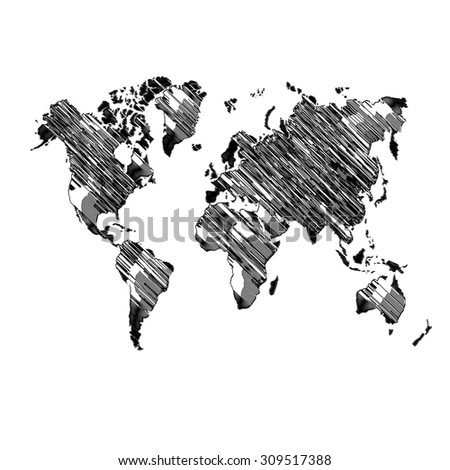World Map Globe Vector line Illustrator.World Map Scribble vector