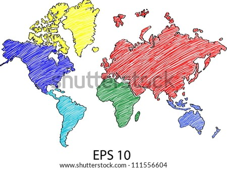 World Map Globe Vector line Sketch Up Illustrator, EPS 10. - stock vector