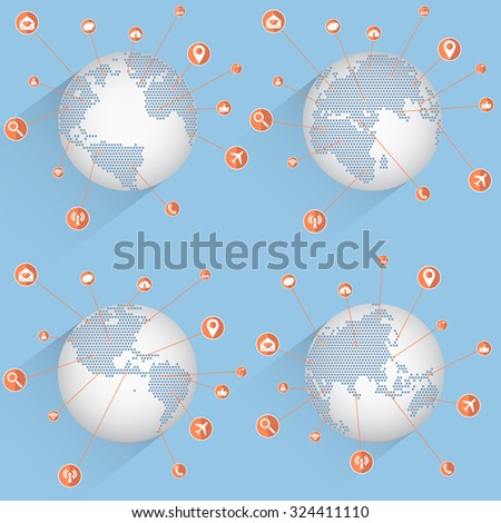 World Map Globe with Web icons, Business icons and Technology icons for technology and business concept, Vector Illustration EPS 10. - stock vector