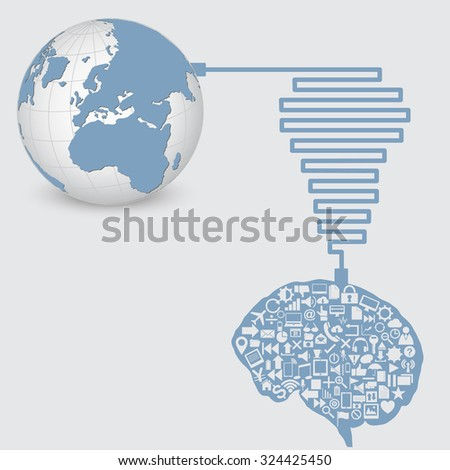 World Map Globe with Web icons, Business icons and Technology icons for technology and business concept from human brain, Vector Illustration EPS 10. - stock vector
