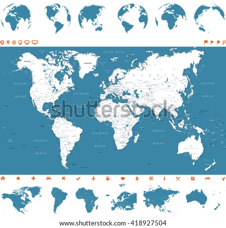 World Map, Globes and Continents - illustration Vector illustration of World map and navigation icons - stock vector