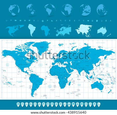 World Map, Globes and Navigation Icons. World map and navigation icons vector illustration. - stock vector