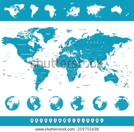 World Map, Globes, Continents, Navigation Icons - illustration Highly detailed vector illustration of world map, globes and continents - stock vector