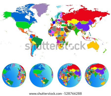 World Map Globes Countries Planet Earth Stock Vector - Earth map countries