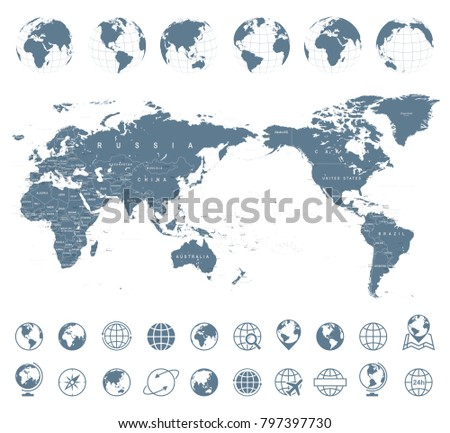 Political grayscale world map vector illustration vectores en stock world map gray asia in center vector gumiabroncs Image collections
