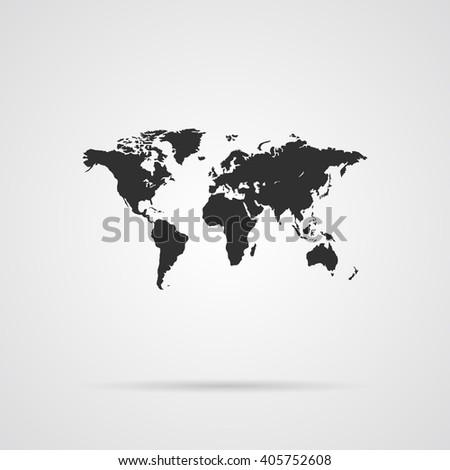World Map Gray Icon - stock vector