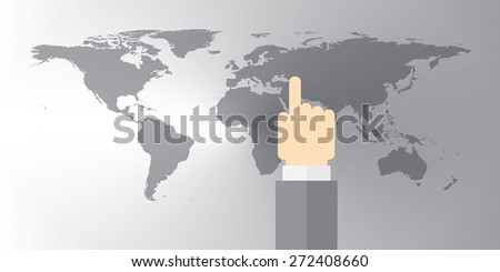 World Map Gray silver with hand pointing on location - stock vector