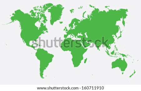 world map- green on white background - stock vector