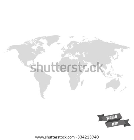 World map grey color on a white  background